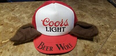 1a7cc35844963 Vtg Coors Light Beer Wolf Hat Snapback Trucker Cap White Red Mesh Beer