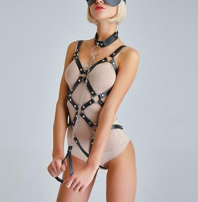 Women PU Leather Full Body Harness Bondage Bra Corset Fetish Costumes BDSM Belts