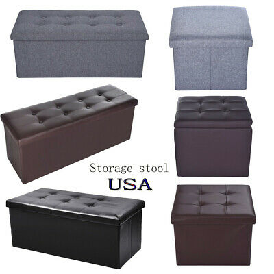 Storage Ottoman Shelf Bench Living Room Home Decor Faux Leather Foot Stool Box