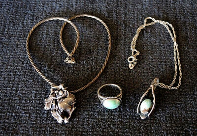 MODERNIST ARTISAN CAST SILVER PENDANTS & RING NATURAL TURQUOISE CHAINS 45gms #5
