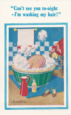 Risque Donald McGill postcard No 91~Can't see you tonight washing my hair theme