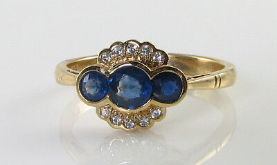 Dainty 9Ct 9K Gold Blue Sapphire Diamond Art Deco Ins Trilogy Ring Free Resize