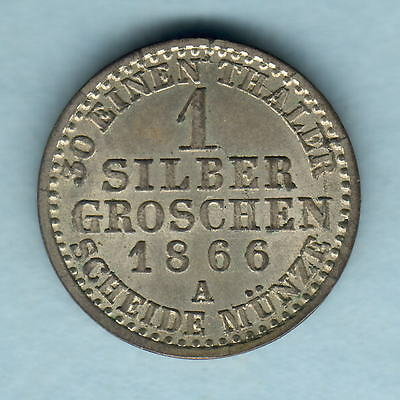 Germany - Prussia. 1866-A 1 Silver Groschen..  Full Lustre.. UNC