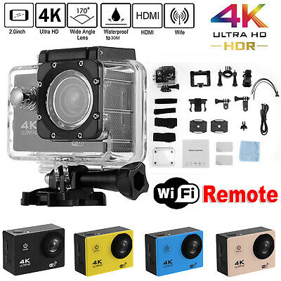 4K 2'' WiFi Sports Action Camera Waterproof 170° 1080P 16MP Cam DV DVR Recorder