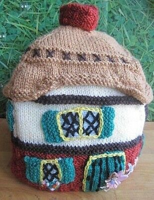 Hand Knitted Padded Double Lined Fairy Cottage Tea Cosy. Easter Gift?