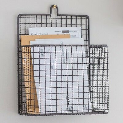 Vintage Style Retro Grey Wire Metal Storage Filing Letter Paper Rack Holder