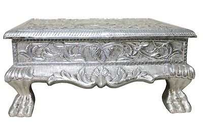 Vintage Handmade Silver Cladding Embossed Flower Design Bajot Stand Decor US427S