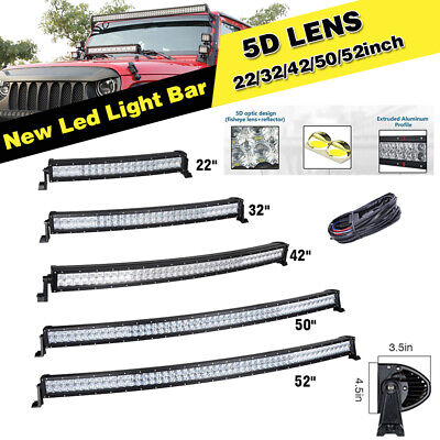 """22 32 42 50 52"""" inch 5D Curved LED Work Light Bar Offroad Driving ATV SUV TRUCKS"""