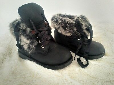 68e3930f03ee Lucky Top Toddler Girls Black Faux Fur Lined  lucina  Ankle Boots Laces  Infant 7