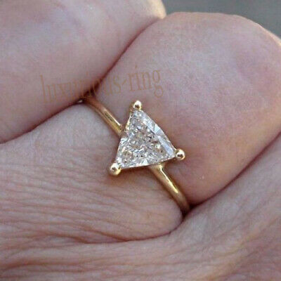 Trillion Cut Near White 1.47 Ct Moissanite Engagement Ring 14k Solid Yellow Gold