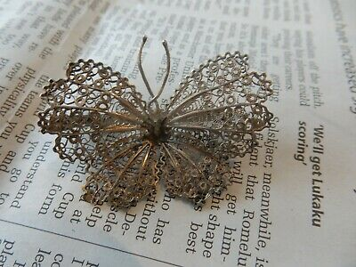 ART DECO ERA style  WHITE METAL BUTTERFLY   brooch  working GREAT GIFT POTENTIAL