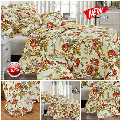 3 Piece Floral Patchwork Quilted Bedspreads With Pillow Cases Single Double King