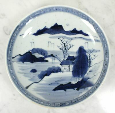 Antique Chinese Blue and White Plate Porcelain Bowl. Hand Painted Landscape