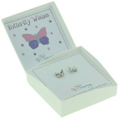 Girls Childrens Sterling Silver Stud Earrings Butterfly For Kids