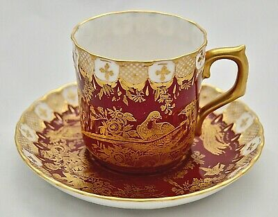 Royal Crown Derby Paradise - Maroon A1090 Demitasse Cup And Saucer '2Nd' Quality