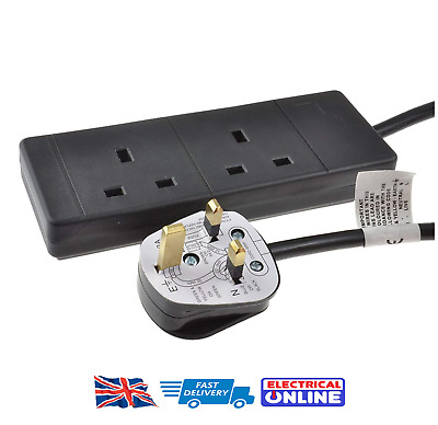 2-Way Extension Lead - Two Gang Multi Plug Socket - Black Power Cable