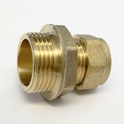 "15mm  x 3/4"" Male Iron Straight Compression WRAS Approved Brass Fittings"