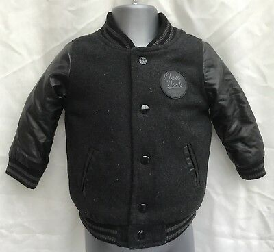 Baby Boys Charcoal & Black Padded Fleece Lined Varsity Jacket - Age 6-9 Months