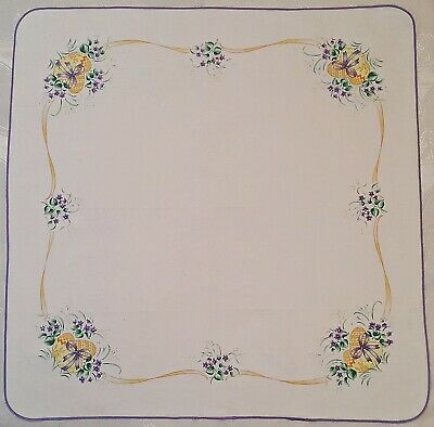 Vintage Easter Art Eggs Violet White Yellow Purple Green Cotton Blend Tablecloth
