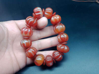 Exquisite Chinese Tibet natural red agate carving Pumpkin beads bracelets bangle