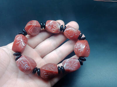 Exquisite Chinese Tibet natural red agate carving reverse squar jade bracelets