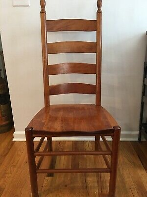Set 6 Chairs Vintage Solid Oak Tom Seely  Slat Back Chairs-natural Cherry