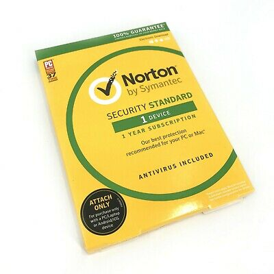 New Norton By Symantec Security Standard Antivirus for One Device #8123