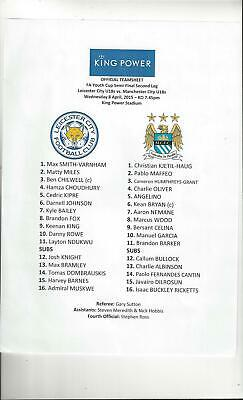 Leicester City v Manchester City Youth Cup Semi Final Football Programme 2014/15