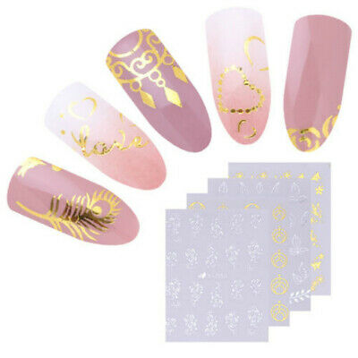 30X Nail Art Water Transfers Stickers Decals White Black Flowers Lace Gel Polish