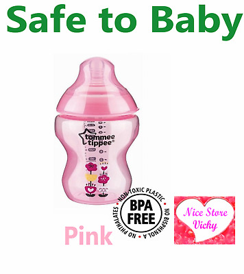 Tommee Tippee Closer to Nature feeding Decorated Milk Bottle 260 340ml; 9oz Pink
