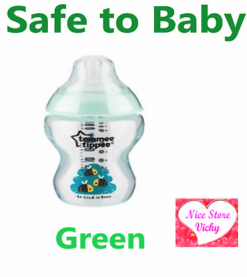 Tommee Tippee Closer to Nature feeding Decorated Milk Bottle 260 340ml 9oz Green