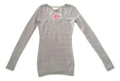 aab0d4acebc Candies Juniors Size XSmall Grey Embellished Scoop Neck Pullover Sweater NEW