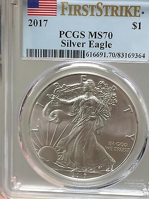 2017 1 oz Silver American Eagle-PCGS MS70 First Strike-FLAWLESS