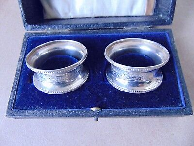 Pretty Pair Antique Sterling Silver Bright Cut Napkin Rings 1918, Not Engraved