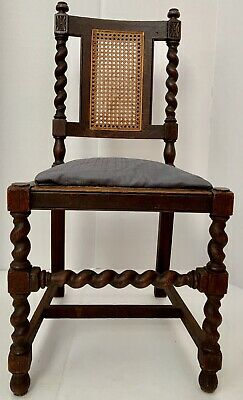 Antique Carved Wood Bannister Chair Jacobean Barley Twist William Mary Carver