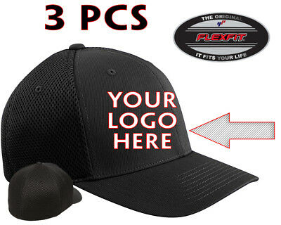 Free Shipping 2 Custom 2 Logo Embroidered # 6210 Flexfit Fitted Flat Bill Hats
