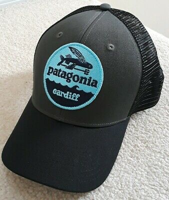 d1ebc8bba9ab3 Patagonia Flying Fish Cardiff California trucker Hat cap mens rare snapback  mesh