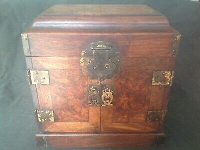 VINTAGE HUANGHUALI TABLE TOP CHEST GUANPIXING w/ GUILIAN DEVIL FACES WOODGRAIN