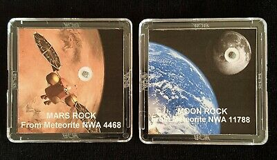 2 DELUXE EDITIONS -AUTHENTICATED MOON & MARS ROCK METEORITE DISPLAYS+Easels   em