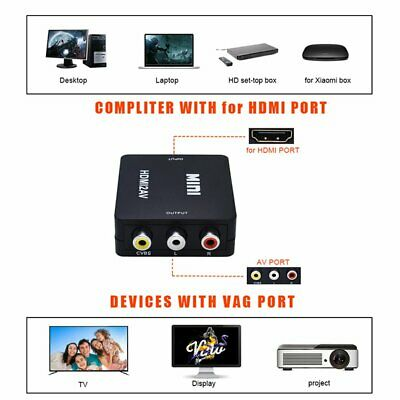 1080P Mini HD Converter Box HDMI to AV RCA CVBS Composite Video Audio Adapter IW