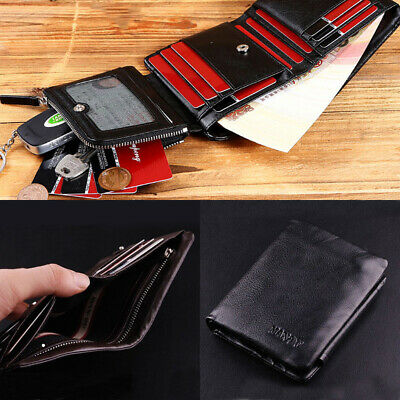 AU Luxury Men's Leather Trifold Wallet Credit Card Holder Coin Purse HighQuality