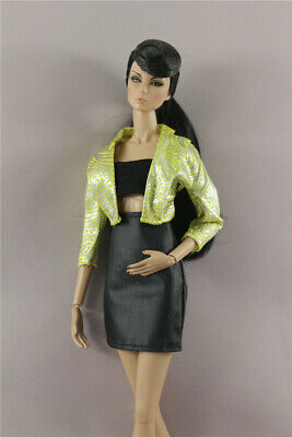 3in1 Set Fashion Green Jacket Top Outfit +Skirt +Boots  For 11.5 in.12 in. Doll