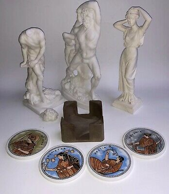 Roman God Lot Bust Statue Greek Coasters Maiden Zeus Greece Vintage Italy