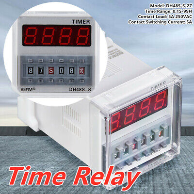 DH48S-S-2Z ProgrammableLED Delay Time Relay Timer 0.1S-99H 8-Pin 5A 250VAC New