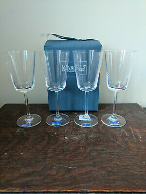 """Marquis by Waterford Crystal Treviso 8"""" White Wine Glasses Set of 4 New in Box"""