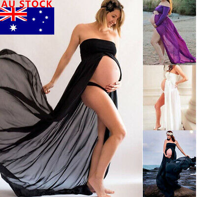 AU Pregnant Women Chiffon Maternity Long Dress Maxi Gown Photography Photo Shoot