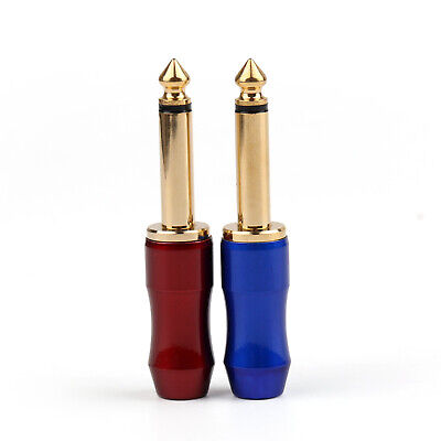 """2 Pcs Brass Gold Plated 6.3mm 1/4"""" Mono Jack Plug Connector For Soldering B"""