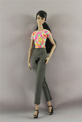 2in1 Set Fashion Flower T-shirt Top Outfit +Pants For 11.5 in.12 in. Doll