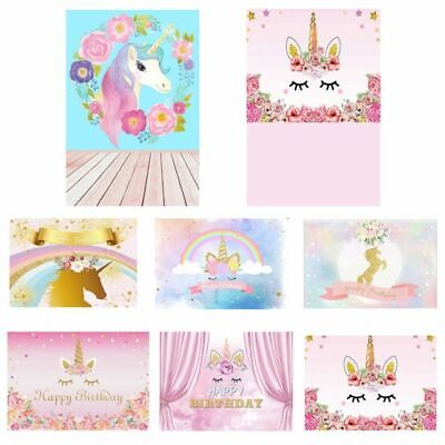 Baby 5x3ft Unicorn Birthday Party Background Photography Backdrop AU Classical