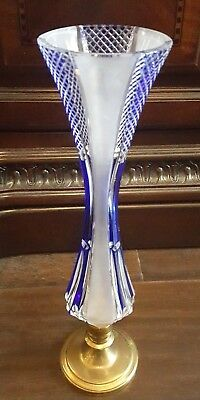 Vintage Bohemian Frosted Cobalt Blue Cut To Clear Glass Bud Vase Brass Base